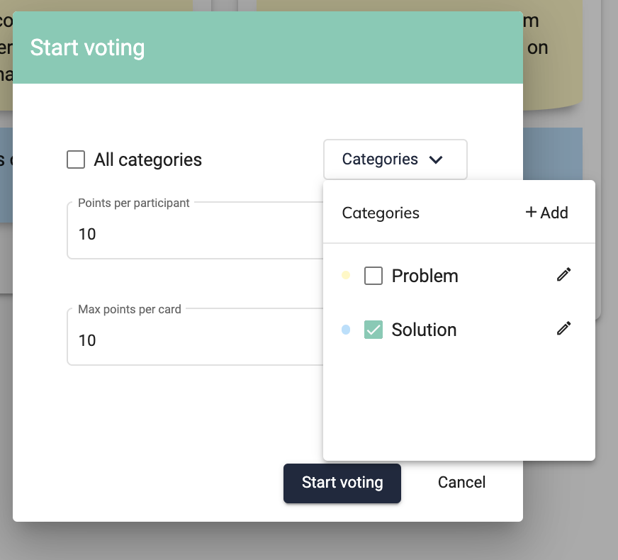 Voting feature during 5 Whys remote workshop