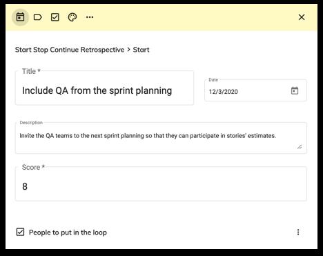 Online retrospective task example in Excelway