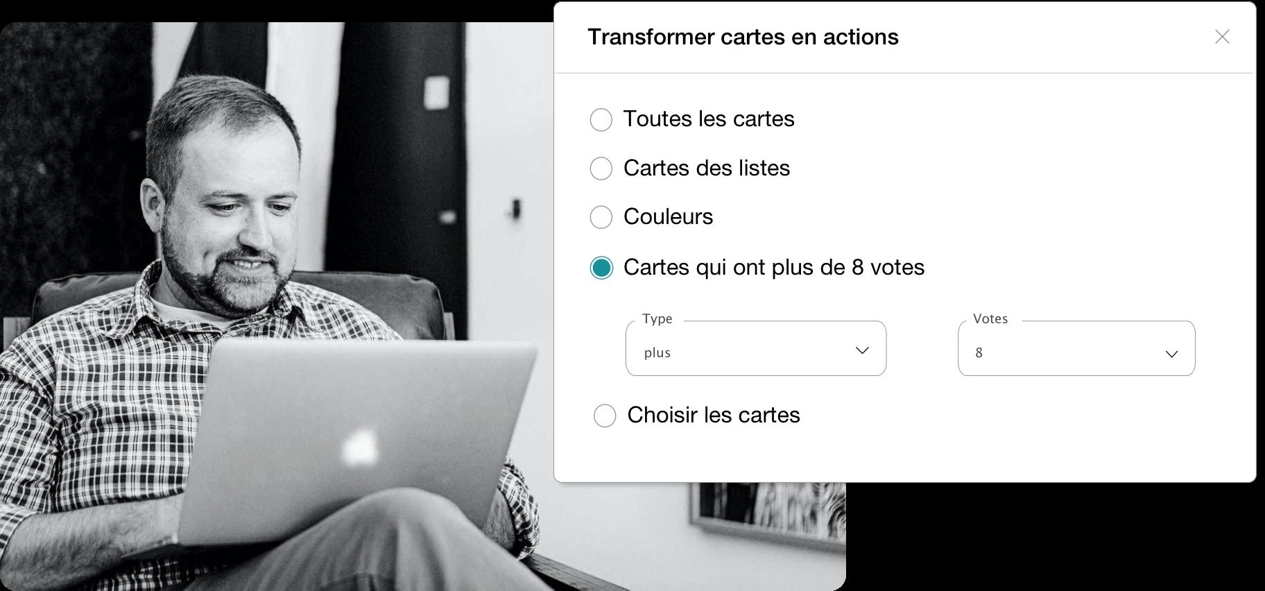 photo montrant la fonctionnalité de transformation des cartes en actions lors d'un brainstorming en ligne