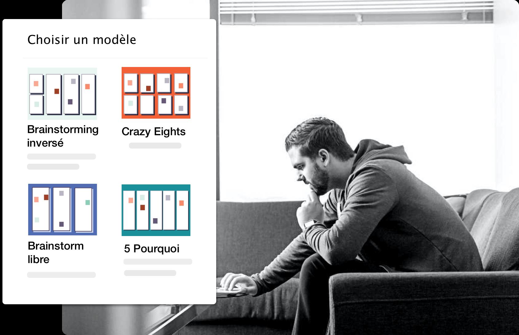 photo montrant les modèles d'idéation et de brainstorming en ligne d'Excelway