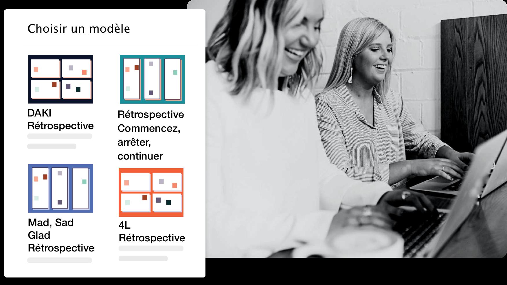 photo montrant les modèles de rétrospectives en ligne dans Excelway
