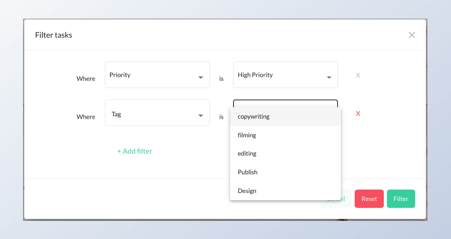 image showing filter by tag and priority feature